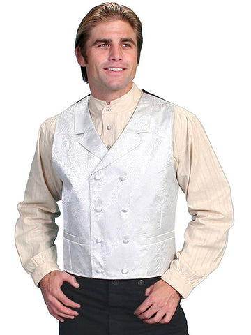 New Scully Rangewear Men's Cream Colored Double Breasted Old West Steampunk Gentleman's Vest