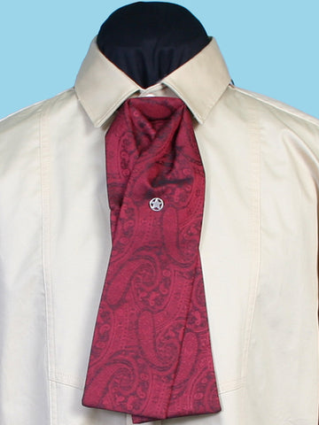 New Scully Rangewear Men's Crimson Red Silk Adjustable Victorian Old West Steampunk Paisley Gentleman's Puff Tie