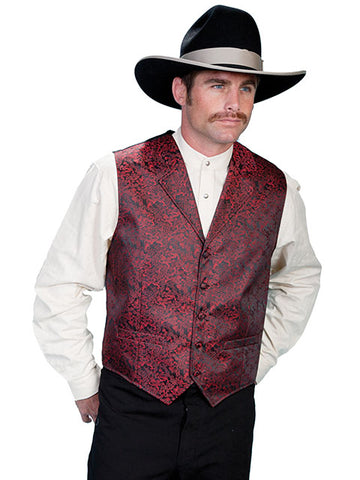 New Scully Rangewear Men's Crimson Elegant Dragon Pattern Old West Steampunk Gentleman's Vest