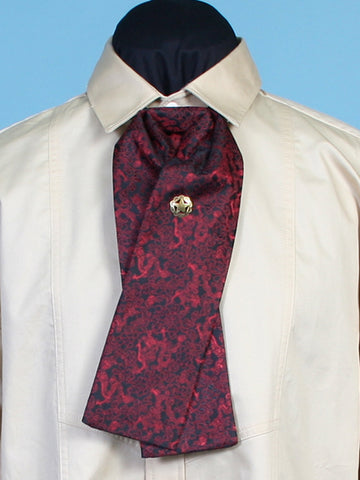 New Scully Rangewear Men's Burgundy Red Silk Adjustable Victorian Old West Steampunk Classic Gentleman's Puff Tie
