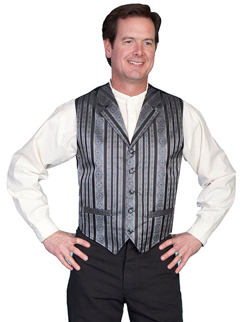 New Scully Range Wear Black Striped Classic Old West Victorian Steampunk Lawman's Vest - Bombshell Bettys Vintage