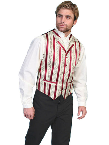 New Scully Range Wear Burgundy Striped Classic Old West Victorian Steampunk Gambler Vest