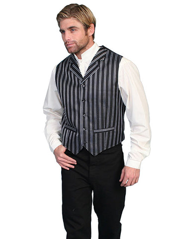 New Scully Range Wear Black & White Double Pin Striped Classic Old West Victorian Steampunk Vest