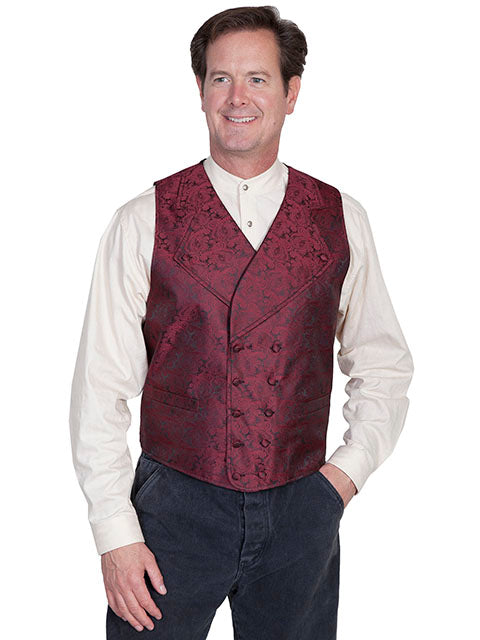 New Scully Range Wear Burgundy Double Breasted Elegant Old West Victorian Steampunk Gentleman's Vest - Bombshell Bettys Vintage