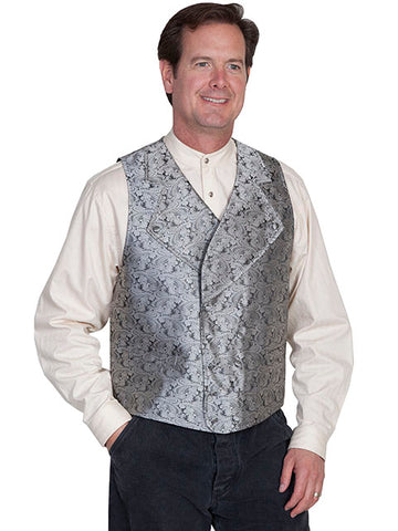 New Scully Range Wear Gray Double Breasted Elegant Old West Victorian Steampunk Gentleman's Vest