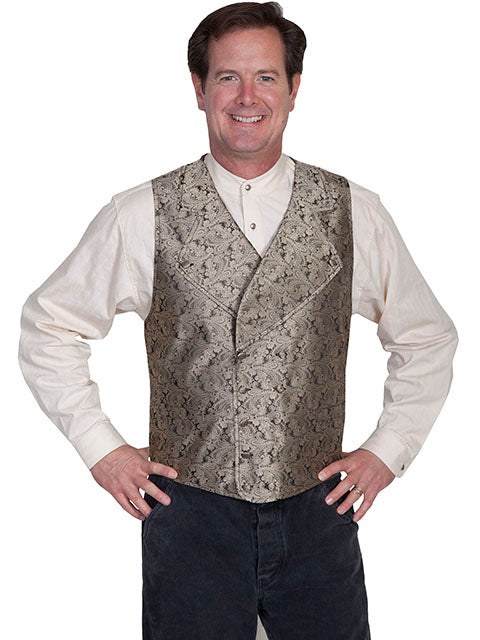 New Scully Range Wear Taupe Double Breasted Elegant Old West Victorian Steampunk Gentleman's Vest - Bombshell Bettys Vintage