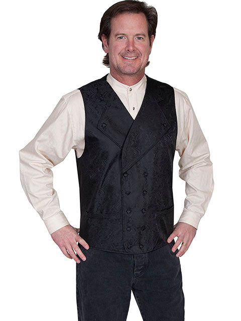New Scully Range Wear Black Double Breasted Elegant Old West Victorian Steampunk Gentleman's Vest - Bombshell Bettys Vintage
