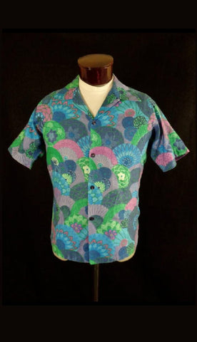 Rare Collectible Vintage Blue Beyond The Reef Floral Fan Print Hawaiian Shirt