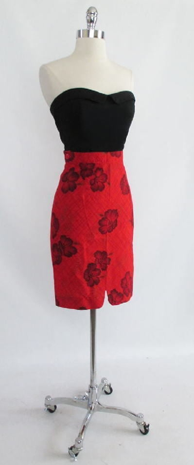 Vintage 50's Bombshell Pinup Red Hawaiian Bad Girl Wiggle Pencil Tiki Skirt S - Bombshell Bettys Vintage