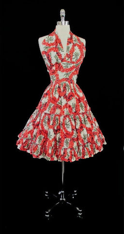 z Vintage 50's Red Hawaiian Flower Lei and Palm Tree Halter Dress S