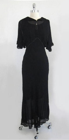 Vintage Inspired 30's 40's Old Hollywood Glamour Black Sheer Dress Evening Gown M