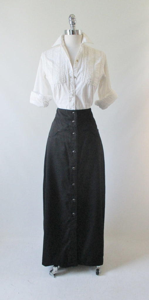 Vintage Style Scully Retro Black Western Long Pearl Snap Skirt XS - Bombshell Bettys Vintage