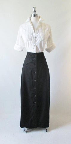 Vintage Style Scully Retro Black Western Long Pearl Snap Skirt  S