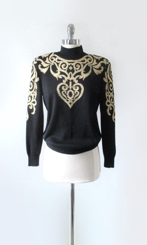Vintage St John Y2K Gold Heart Sweater S