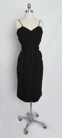 Vintage 50's Rare Suzy Perette Black Pleated Chiffon Bombshell Cocktail Evening Dress M