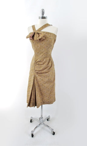 Vintage 50s Julius Garfinckel & Co Atomic Sheath Party Dress S