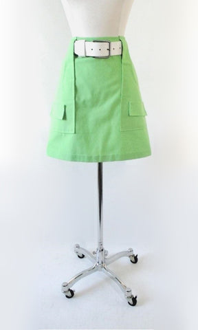 Vintage 60's Lime Green MOD A Line Mini Skirt M