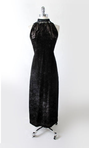 Vintage 60s Black Tinsel Evening Gown Cocktail Party Dress XS