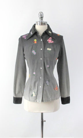 Vintage 70s Ombre Embroidered Western Shirt / Light Jacket S