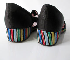 Vintage 30s 40s Black Faille Striped Wedge Slippers Shoes 8 - Bombshell Bettys Vintage
