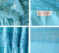 Vintage 50's Aquamarine Desert Flower Patio / Squaw Skirt Blouse Set L - Bombshell Bettys Vintage