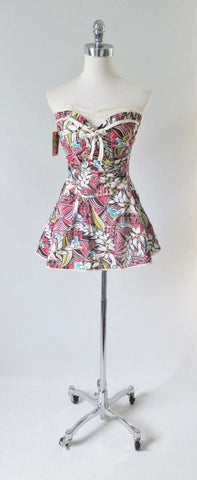 Vintage 50's  Mac Perth Sportswear Tropical Print Skirted Playsuit Swimsuit S