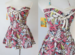 Vintage 50's  Mac Perth Sportswear Tropical Print Skirted Playsuit Swimsuit S - Bombshell Bettys Vintage