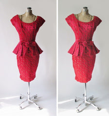 Vintage 50's Red Satin Rose Brocade Peplum Sheath Party Dress S - Bombshell Bettys Vintage