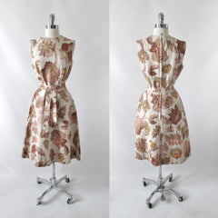 Vintage 60's autumn leaves tapestry canvas A-Line shift dress bombshell bettys vintage full