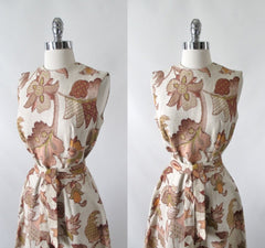 Vintage 60's autumn leaves tapestry canvas A-Line shift dress bombshell bettys vintage bodice