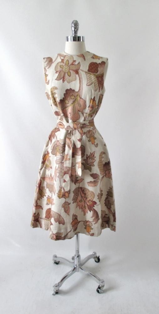 Vintage 60's autumn leaves tapestry canvas A-Line shift dress bombshell bettys vintage gallery