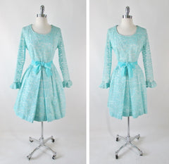 vintage 60's tiffany blue circle lace formal full skirt fit flare party dress large bombshell bettys vintage