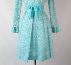 Vintage 60's Tiffany Blue Lace Special Occasion Party Dress L - Bombshell Bettys Vintage