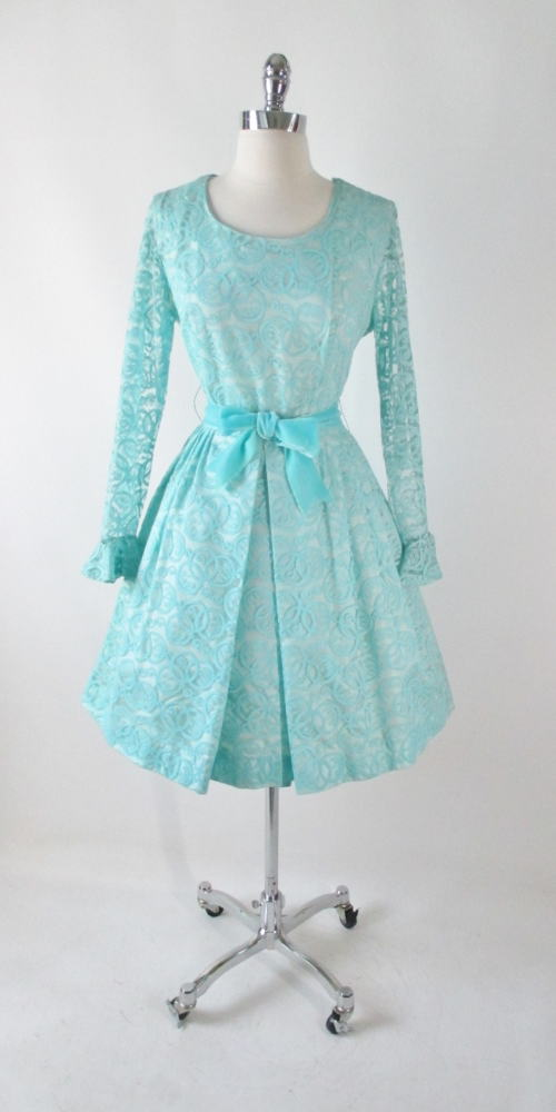vintage 60's tiffany blue circle lace formal full skirt fit flare party dress large bombshell bettys vintage gallery