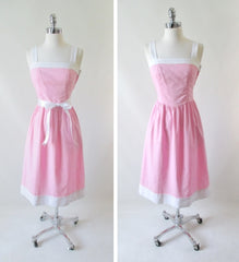 vintage 80's 50's style pink white full skirt summer sundress dress bombshell bettys vintage