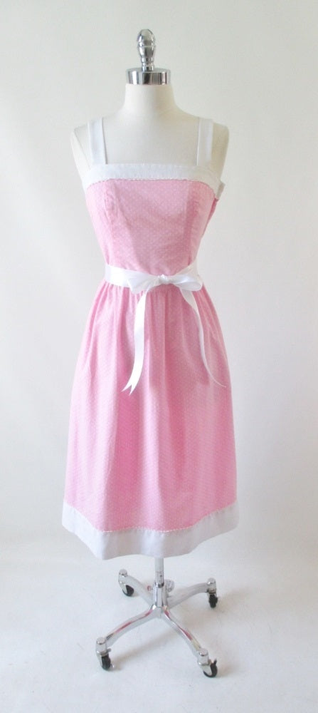 • Vintage 80's Pink White 50's Style Sundress Dress XS - Bombshell Bettys Vintage