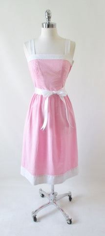 Vintage 80's Pink White 50's Style Sundress Dress XS