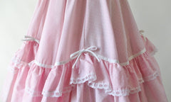 Vintage Pink Ruffle & Bows Full Circle Dolly Skirt M - Bombshell Bettys Vintage
