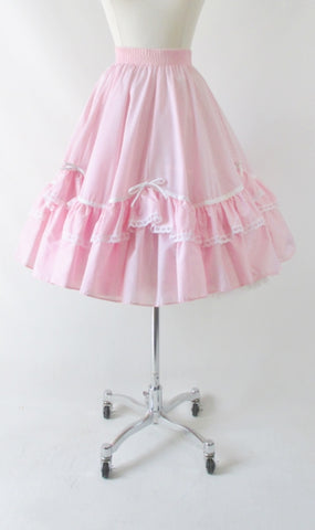 Vintage Pink Ruffle & Bows Full Circle Dolly Skirt M