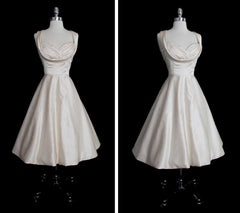 Vintage 50's Inspired Ivory Champagne Party Wedding Special Occasion Dress UK 12 M - Bombshell Bettys Vintage