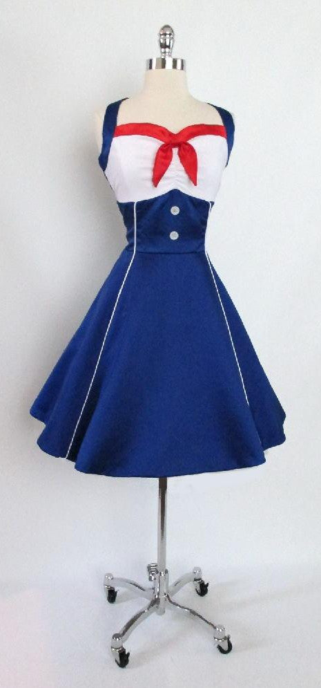 vintage 40's 50's inspired nautical patiorit pinup swing dress