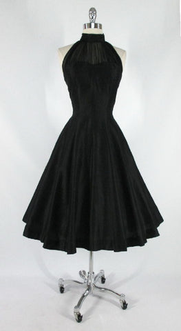 • Vintage 50's Black Chiffon Polished Cotton Full Skirt Evening Party Halter Dress M