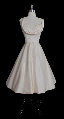 Vintage 50's Inspired Ivory Champagne Party Wedding Special Occasion Dress UK 12 M