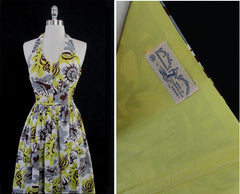 vintage 40's 50's Surfriders shell print Hawaiian dress details