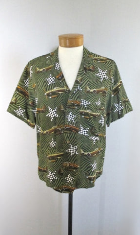 Vintage 90's Zeno Veronese WWII Airplane Hawaiian Style Rayon Shirt L