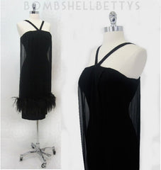z Vintage 50's 60's Bombshell Black Feather Sheath Cocktail Party Evening Dress M - Bombshell Bettys Vintage