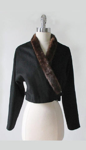 Vintage 50's Mink Trim Black Wool Cropped Jacket S