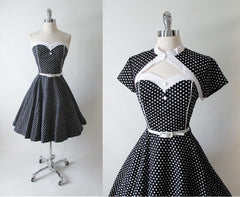 Vintage 50's Look Strapless Black White Polka Dot Full Circle Skirt Dress & Bolero L - Bombshell Bettys Vintage