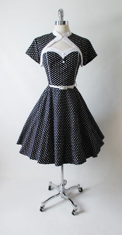 Vintage 50's Look Strapless Black White Polka Dot Full Circle Skirt Dress & Bolero L
