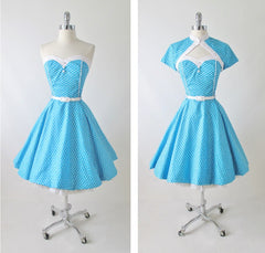 vintage 1950's style full skirt blue strapless polka dot dress Lucy full